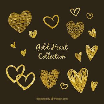 Disegnato a mano collezione cuore d'oro