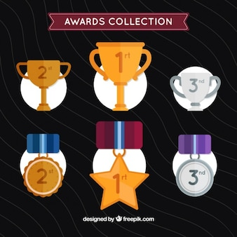Hand drawn golden and silver awards set