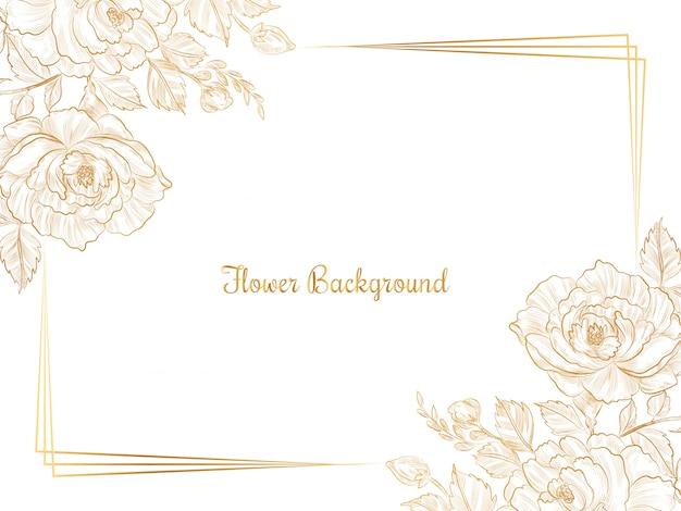 Hand drawn golden sketch flower design