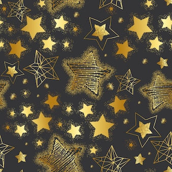 Hand drawn golden stars seamless pattern