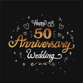 Hand drawn golden wedding anniversary lettering