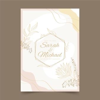 Modello di invito di nozze d'oro disegnato a mano
