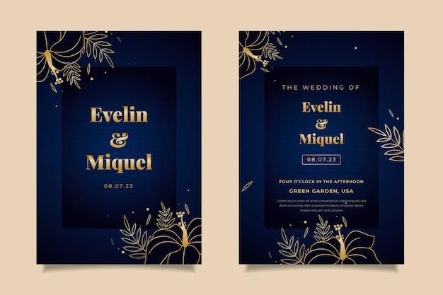 手描きの黄金の結婚式の招待状のテンプレート 無料ベクター