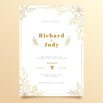 手描きの黄金の結婚式の招待状のテンプレート