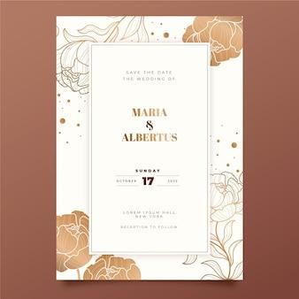 손으로 그린 황금 결혼식 초대장 서식 파일