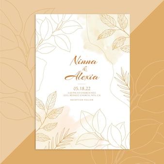 Ручной обращается шаблон золотого свадебного приглашения