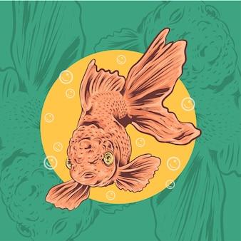 泡と手描きの金魚のイラスト