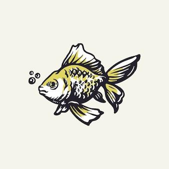 Hand drawn goldfish