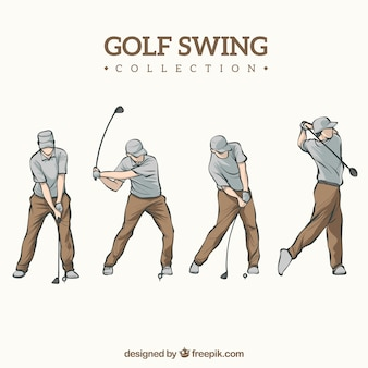Hand drawn golf swing collection