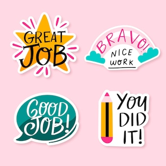 Hand drawn good job and great job sticker collection