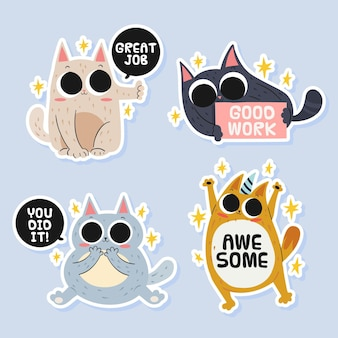 Hand drawn good job and great job stickers pack
