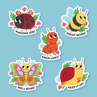 Hand drawn good job stickers collection