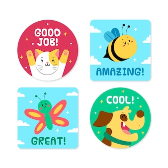Hand drawn good job stickers set