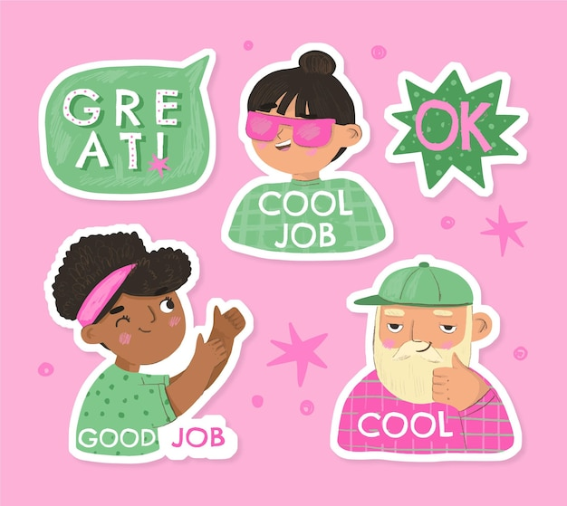 Hand drawn good job stickers set