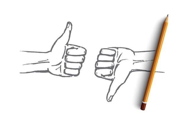その上に鉛筆で手描きの良いまたは悪いコンセプトスケッチ