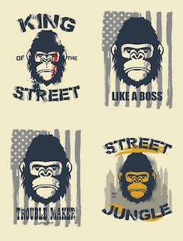 Рисованной иллюстрации гориллы.
