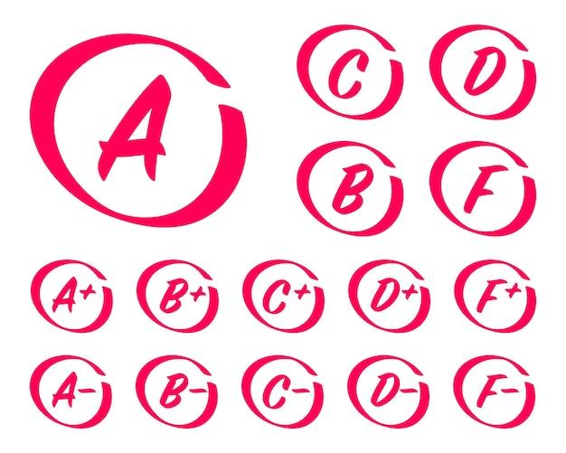 손으로 그린 성적 결과 동그라미가 있는 성적 시험 결과 문자 및 더하기 성적 표시