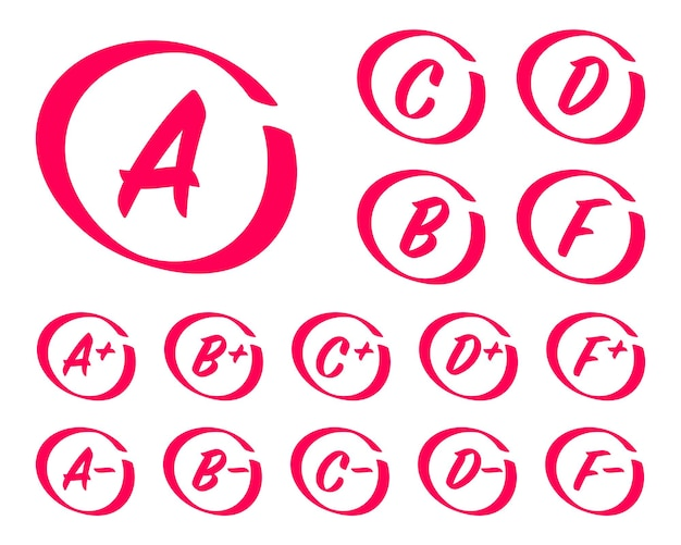 Hand drawn grade results grades with circles exam results letters and plus grades marks