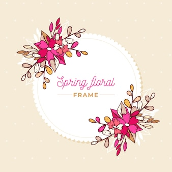 Hand drawn gradient pink spring floral frame