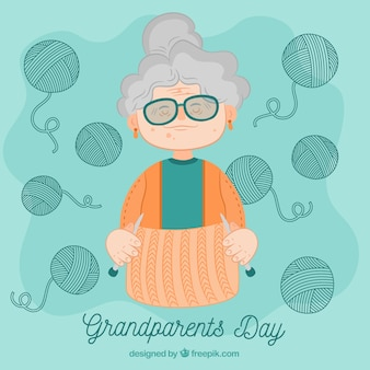 Hand drawn grandmother background with woolen bundles
