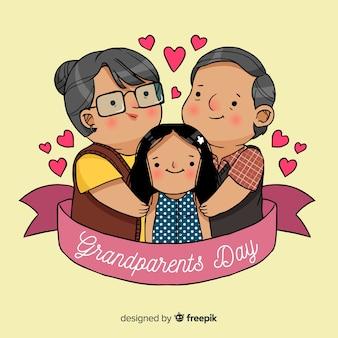 Hand drawn grandparents day background