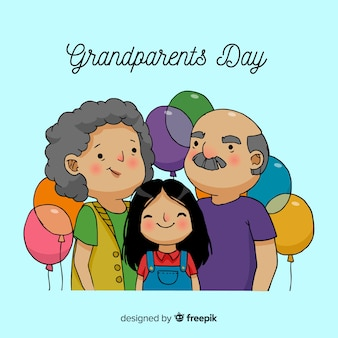Hand drawn grandparents day background