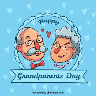 Hand drawn grandparents day badge background