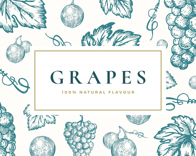 手描きのブドウイラストカード。上品なレトロなタイポグラフィと抽象的なブドウの束と葉のスケッチの背景。
