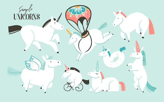 Hand drawn   graphic creative cartoon illustrations art collection set with white unicorns,pony and pegasus isolated