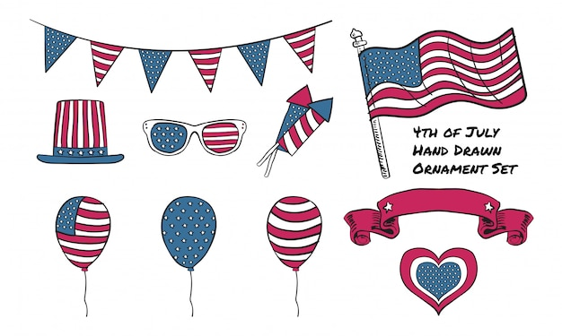 Hand drawn graphic element  of independence day 4th of july usa