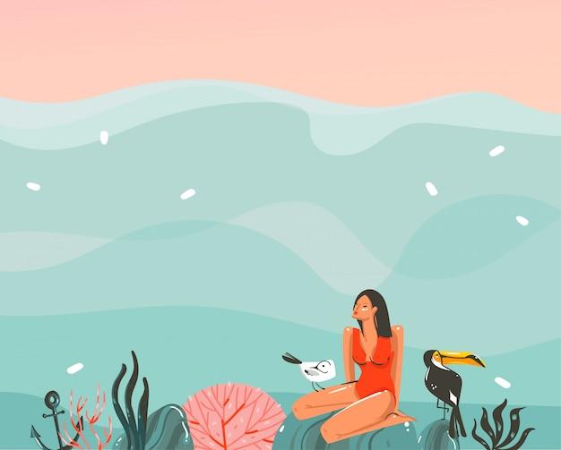Вручите вычерченную графическую иллюстрацию с плавая девушкой yound в купальнике в ландшафте океанских волн и птицы тукана на изолированных коралловых рифах