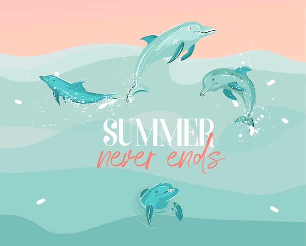 Hand drawn     graphic illustration with a swimming dolphins qroup in ocean waves landscape and summer never ends typography isolated
