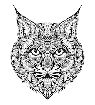 Hand drawn graphic ornate bobcat with ethnic floral doodle pattern. illustration for coloring book, tattoo, print on t-shirt, bag.  on a white background.