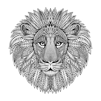 Hand drawn graphic ornate head of lion with ethnic floral doodle pattern. illustration for coloring book, tattoo, print on t-shirt, bag.  on a white background.