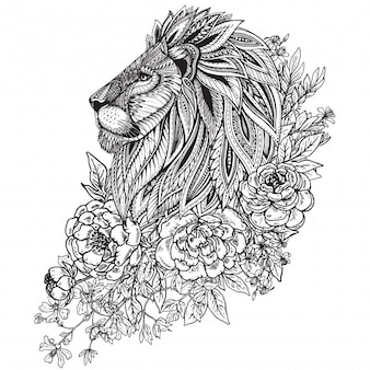 Hand drawn graphic ornate head of lion with ethnic floral doodle pattern