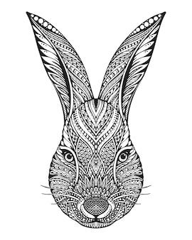 エスニック花柄落書きパターンでウサギの手描きグラフィックの華やかな頭。塗り絵、タトゥー、tシャツ、バッグに印刷のイラスト。白い背景の上。