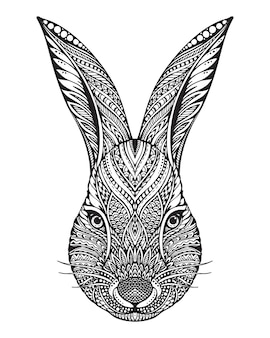 Hand drawn graphic ornate head of rabbit with ethnic floral doodle pattern. illustration for coloring book, tattoo, print on t-shirt, bag.  on a white background.