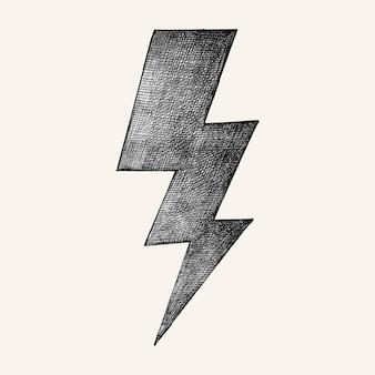 Hand-drawn gray lightning illustratrion