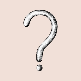 Hand-drawn gray question mark illustration
