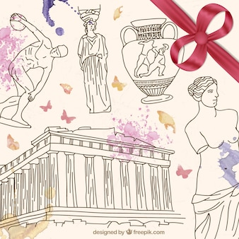 Hand drawn Greece culture