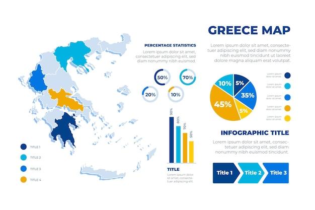 Mappa disegnata a mano della grecia infografica