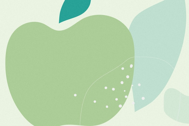 손으로 그린 녹색 사과 멤피스 배경
