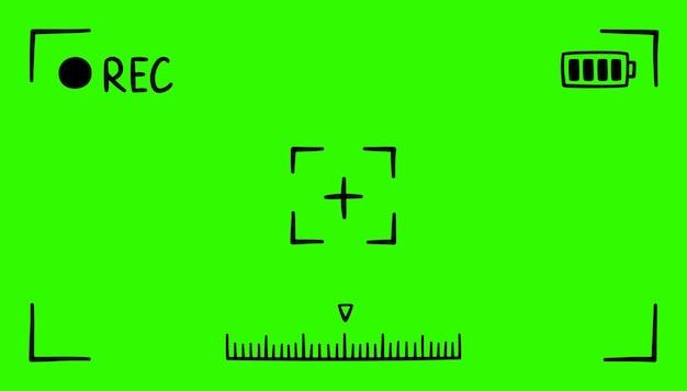 カメラの手描きの緑色のファインダーフレームビデオレコーダーデジタルディスプレイの画面
