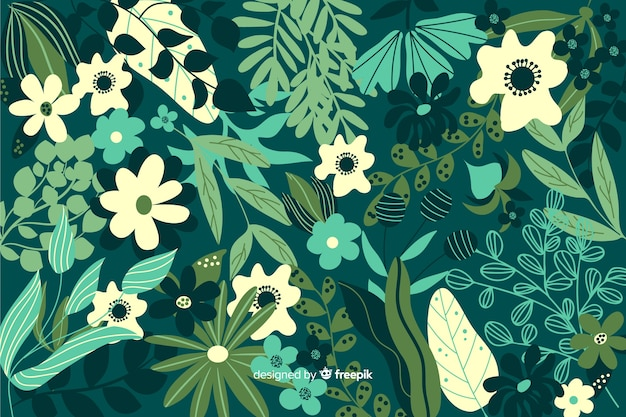 Hand drawn green floral background