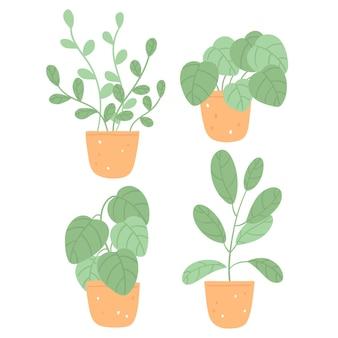 手描きの緑の観葉植物コレクション
