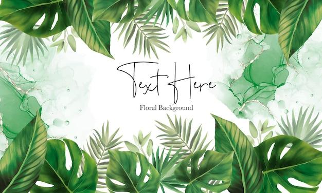 손으로 그린 녹색 잎 배경 디자인