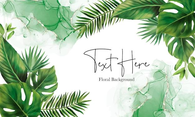 手描きの緑の葉の背景デザイン