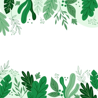 Hand drawn green leaves background