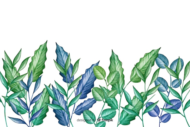 Hand drawn green leaves line