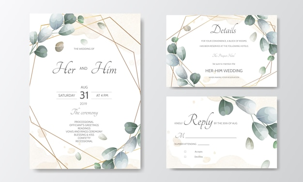 Hand drawn green leaves wedding invitation card